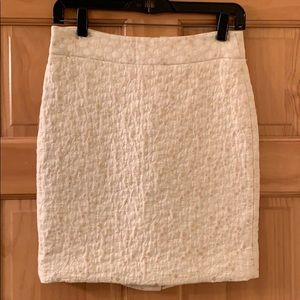 J.Crew off white lined skirt with gold circles.